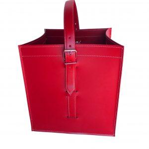 LUNA: borsa portalegna e/o pellet in cuoio colore Rosso,  con ruote gommate, contenitore per camino, borsa porta legna, per la casa, Ufficio, Hotel, design Firestyle®, Made in Italy.
