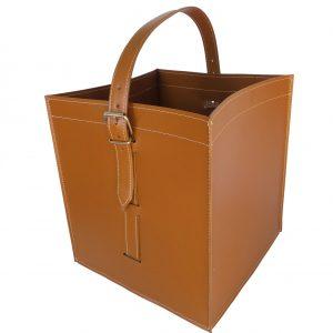 LUNA: borsa portalegna e/o pellet in cuoio colore Marrone, con ruote gommate, contenitore per camino, borsa porta legna, per la casa, Ufficio, Hotel, design Firestyle®, Made in Italy.