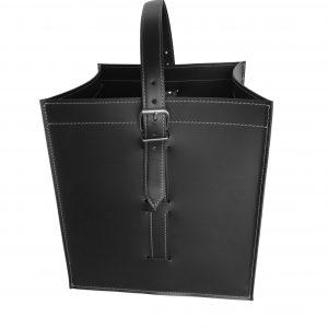 LUNA: borsa portalegna e/o pellet in cuoio colore Nero, con ruote gommate, contenitore per camino, borsa porta legna, per la casa, Ufficio, Hotel, design Firestyle®, Made in Italy.
