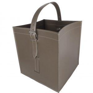 LUNA: borsa portalegna e/o pellet in cuoio colore Tortora, con ruote gommate, contenitore per camino, borsa porta legna, per la casa, Ufficio, Hotel, design Firestyle®, Made in Italy.