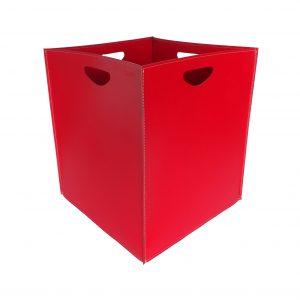 MARTE: portalegna in cuoio colore Rosso, contenitore per camino, borsa porta legna, per la casa, Ufficio, Hotel, design Firestyle®, Made in Italy.