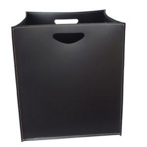 MARTE: portalegna in cuoio colore Nero, contenitore per camino, borsa porta legna, per la casa, Ufficio, Hotel, design Firestyle®, Made in Italy.