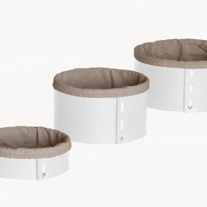 MARTINA SET: Set of 3 Oval Storage Basket in leather White colour With Removable Washable Lining, round storage baskets, organizers, Box.Made in Italy, Limac Design®.