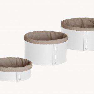 MARTINA SET: Set cesti portaoggetti in cuoio colore bianco con fodera in cotone, contenitore, cestino, scatola in cuoio per l'Ufficio, Limac Design®
