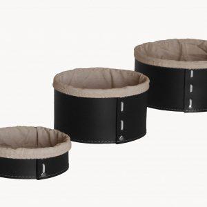 MARTINA SET: Set cesti portaoggetti in cuoio colore nero con fodera in cotone, contenitore, cestino, scatola in cuoio per l'Ufficio, Limac Design®