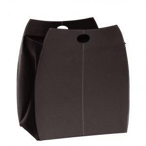 ALESSIA: portabiancheria in cuoietto colore Tesa di Moro, con sacco in cotone removibile, chiusura a ribalta in cuoio, contenitore porta oggetti, borsa in cuoio, prodotto da Limac Design®.