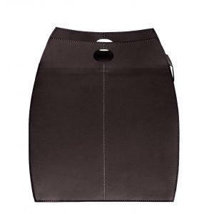 ALESSIO: portabiancheria in cuoio colore Testa di Moro con sacco in cotone removibile, chiusura a ribalta in cuoio, contenitore porta oggetti, borsa in cuoio, prodotto da Limac Design®.