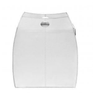 ALESSIA: portabiancheria in cuoietto colore Bianco, con sacco in cotone removibile, chiusura a ribalta in cuoio, contenitore porta oggetti, borsa in cuoio, prodotto da Limac Design®.
