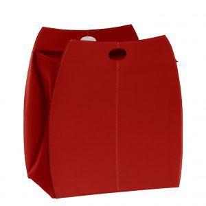 ALESSIO: portabiancheria in cuoio colore Rosso, con sacco in cotone removibile, chiusura a ribalta in cuoio, contenitore porta oggetti, borsa in cuoio, prodotto da Limac Design®.