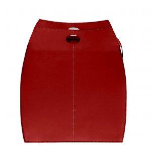 ALESSIA: portabiancheria in cuoietto colore Rosso, con sacco in cotone removibile, chiusura a ribalta in cuoio, contenitore porta oggetti, borsa in cuoio, prodotto da Limac Design®.