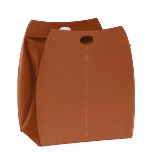 ALESSIO: portabiancheria in cuoio colore Marrone, con sacco in cotone removibile, chiusura a ribalta in cuoio, contenitore porta oggetti, borsa in cuoio, prodotto da Limac Design®.