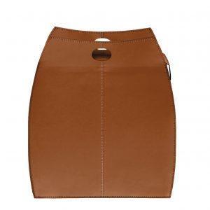ALESSIA: portabiancheria in cuoietto colore Marrone, con sacco in cotone removibile, chiusura a ribalta in cuoio, contenitore porta oggetti, borsa in cuoio, prodotto da Limac Design®.