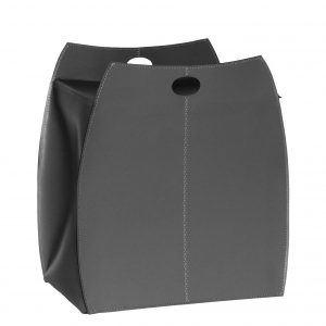ALESSIO: portabiancheria in cuoio colore Grigio Antracite, con sacco in cotone removibile, chiusura a ribalta in cuoio, contenitore porta oggetti, borsa in cuoio, prodotto da Limac Design®.