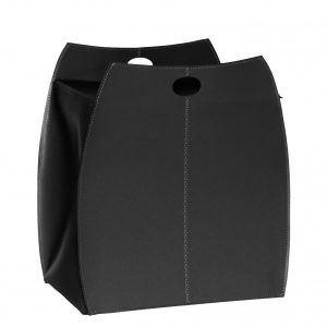 ALESSIO: portabiancheria in cuoio colore Nero, con sacco in cotone removibile, chiusura a ribalta in cuoio, contenitore porta oggetti, borsa in cuoio, prodotto da Limac Design®.