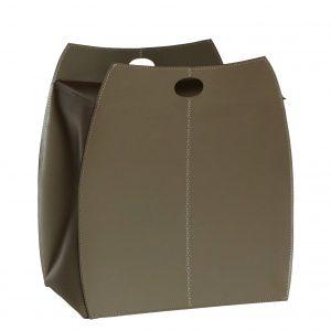 ALESSIA: portabiancheria in cuoietto colore Tortora, con sacco in cotone removibile, chiusura a ribalta in cuoio, contenitore porta oggetti, borsa in cuoio, prodotto da Limac Design®.