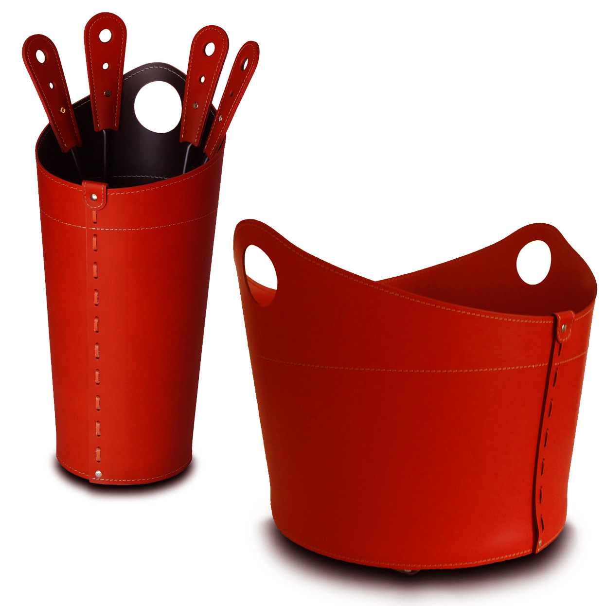 NICAD: Fireplace set in leather Red color, composed of Firewood Holder, FirepIron Bag and Fireplace Tools, Gift idea, Firewood Basket, Made in Italy, Firestyle® design.