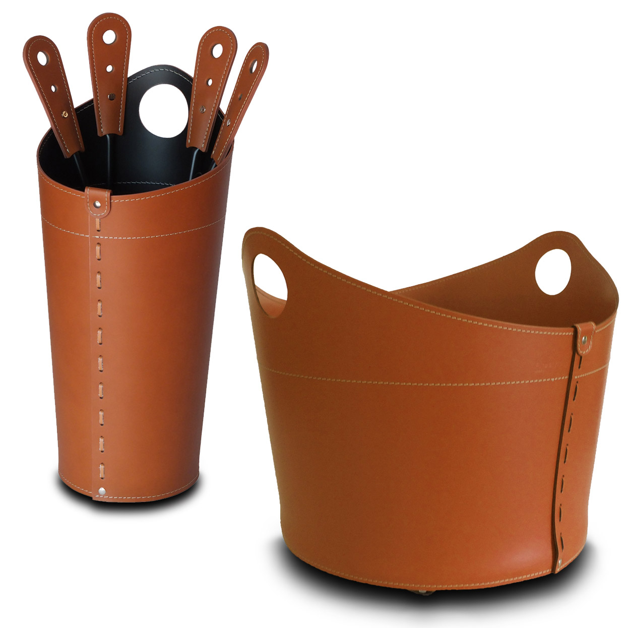 NICAD: set da camino in cuoio colore Marrone composto da portalegna, borsa porta-ferri e attrezzi da camino, idea regalo, cesta per legna, Made in Italy, design Firestyle®.