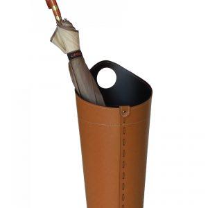 PLUVIA: porta-ombrelli in cuoio colore marrone, portaombrelli di design con raccogligocce, porta ombrelli per Casa, Ufficio, Hotel, Limac Design®.
