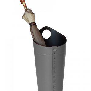 PLUVIA: porta-ombrelli in cuoio colore grigio antracite, portaombrelli di design con raccogligocce, porta ombrelli per Casa, Ufficio, Hotel, Limac Design®.