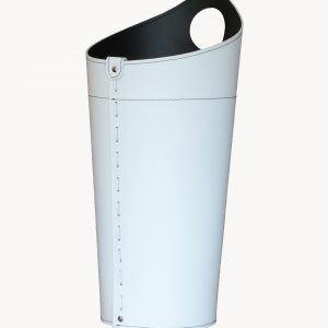 PLUVIA: porta-ombrelli in cuoio colore bianco, portaombrelli di design con raccogligocce, porta ombrelli per Casa, Ufficio, Hotel, Limac Design®.
