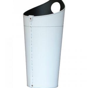 NIDAC: porta attrezzi per camino in cuoio colore Bianco, contenitore portattrezzi, accessori camino, sacca per set ferri camino, Made in Italy.