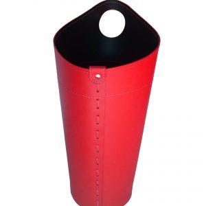 NIDAC: porta attrezzi per camino in cuoio colore Rosso, contenitore portattrezzi, accessori camino, sacca per set ferri camino, Made in Italy.