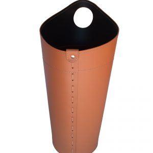 NIDAC: porta attrezzi per camino in cuoio colore Marrone, contenitore portattrezzi, accessori camino, sacca per set ferri camino, Made in Italy.