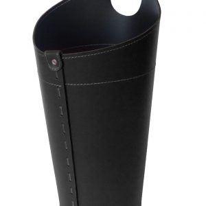 PLUVIA: porta-ombrelli in cuoio colore nero, portaombrelli di design con raccogligocce, porta ombrelli per Casa, Ufficio, Hotel, Limac Design®.