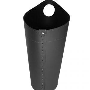 NIDAC: porta attrezzi per camino in cuoio colore Nero, contenitore portattrezzi, accessori camino, sacca per set ferri camino, Made in Italy.
