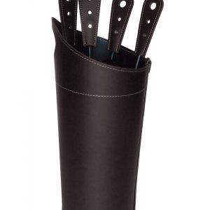 NILAR: Fireplace Companion Set with Leather Handles Dark Brown and Tool Set Bag Leather same color, cutlery in steel.