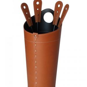 NILAR: Fireplace set in Leather Brown color, composed of Fireplace Tool Set Bag in Leather, Companion Tolls Set, Gift Idea, Made in Italy, Firestyle® design.