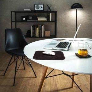 NORA: Tappetino Mouse da scrivania in cuoio colore Testa di Moro, rettangolare, con angoli arrotondati, antiscivolo, Made in Italy.
