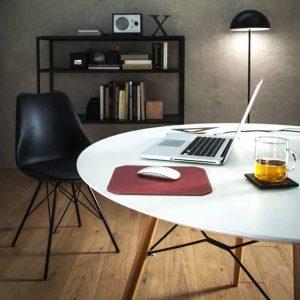 NORA: Tappetino Mouse da scrivania in cuoio colore Bordeaux, rettangolare, con angoli arrotondati, antiscivolo, Made in Italy.