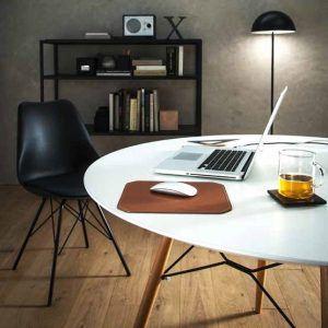 NORA: Tappetino Mouse da scrivania in cuoio colore Marrone, rettangolare, con angoli arrotondati, antiscivolo, Made in Italy.