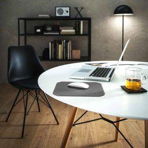 NORA: Tappetino Mouse da scrivania in cuoio colore Antracite, rettangolare, con angoli arrotondati, antiscivolo, Made in Italy.