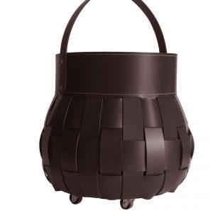 OVO: borsa portalegna in cuoio intrecciato colore Testa di Moro, contenitore per camino, borsa porta legna, per la casa, Ufficio, Hotel, design Firestyle®, Made in Italy.
