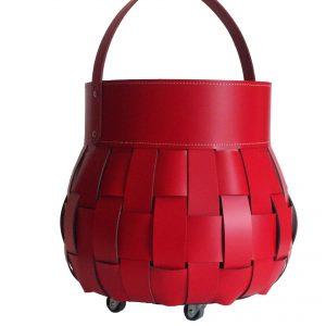 OVO: borsa portalegna in cuoio intrecciato colore Rosso, contenitore per camino, borsa porta legna, per la casa, Ufficio, Hotel, design Firestyle®, Made in Italy.