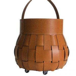 OVO: borsa portalegna in cuoio intrecciato colore Marrone, contenitore per camino, borsa porta legna, per la casa, Ufficio, Hotel, design Firestyle®, Made in Italy.