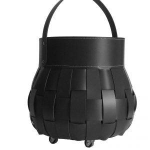 OVO: borsa portalegna in cuoio intrecciato colore Nero, contenitore per camino, borsa porta legna, per la casa, Ufficio, Hotel, design Firestyle®, Made in Italy.