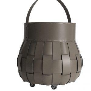 OVO: borsa portalegna in cuoio intrecciato colore Tortora, contenitore per camino, borsa porta legna, per la casa, Ufficio, Hotel, design Firestyle®, Made in Italy.