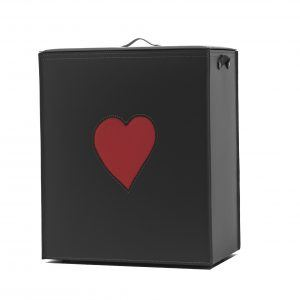 ADELE: Portabiancheria in cuoio colore Nero, cuore colore Rosso, cesta porta biancheria con sacco in cotone removibile e coperchio in cuoio made in Italy by Limac Design®.