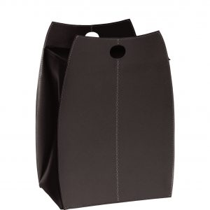 Laundry basket in leather with removable lining PAUL