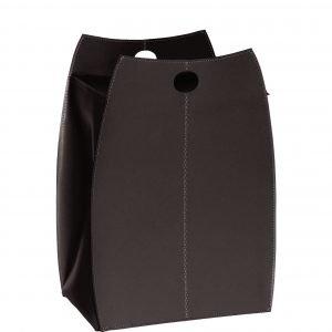 PAOLINA: portabiancheria in cuoietto colore Testa di Moro, con sacco in cotone removibile, chiusura a ribalta in cuoio, contenitore porta oggetti, borsa in cuoio, prodotto da Limac Design®.