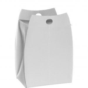 PAUL: portabiancheria in cuoio colore Bianco, con sacco in cotone removibile, chiusura a ribalta in cuoio, contenitore porta oggetti, borsa in cuoio, prodotto da Limac Design®.