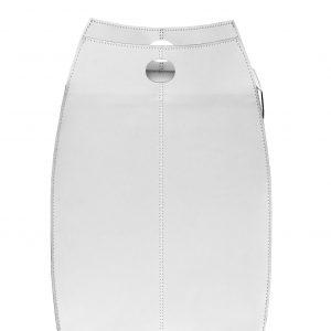 PAOLINA: portabiancheria in cuoietto colore Bianco, con sacco in cotone removibile, chiusura a ribalta in cuoio, contenitore porta oggetti, borsa in cuoio, prodotto da Limac Design®.