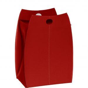 PAOLINA: portabiancheria in cuoietto colore Rosso, con sacco in cotone removibile, chiusura a ribalta in cuoio, contenitore porta oggetti, borsa in cuoio, prodotto da Limac Design®.