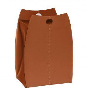 PAOLINA: portabiancheria in cuoietto colore Marrone, con sacco in cotone removibile, chiusura a ribalta in cuoio, contenitore porta oggetti, borsa in cuoio, prodotto da Limac Design®.