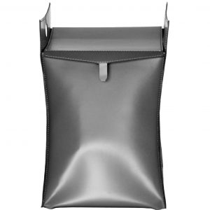 PAUL: portabiancheria in cuoio colore Grigio Antracite, con sacco in cotone removibile, chiusura a ribalta in cuoio, contenitore porta oggetti, borsa in cuoio, prodotto da Limac Design®.
