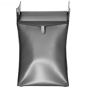 PAOLINA: portabiancheria in cuoietto colore Grigio Antracite, con sacco in cotone removibile, chiusura a ribalta in cuoio, contenitore porta oggetti, borsa in cuoio, prodotto da Limac Design®.