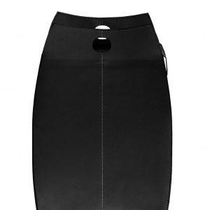 PAUL: portabiancheria in cuoio colore Nero, con sacco in cotone removibile, chiusura a ribalta in cuoio, contenitore porta oggetti, borsa in cuoio, prodotto da Limac Design®.